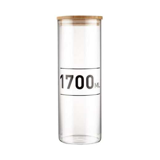BUTLERS Vorratsglas »WOODLOCK Vorratsglas mit Druck 1700ml«, Borosilikatglas, Bambus