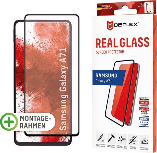 Displex »DISPLEX Real Glass Panzerglas für Samsung Galaxy A71 (6,7), 10H Tempered Glass, mit Montagerahmen, Full Cover« für Samsung Galaxy A71, Displayschutzglas, Schlag- und Aufprallschutz für das Display, 100% exakte und einfache Aufbringung dank der Easy-On Montagehilfe, Optimale Transparenz in Ultra HD Qualität, Beste Touch- & Scroll-Eigenschaften (3D- und Multi-Touch), Perfekt abgerundete Kanten für angenehmste Haptik, Absolut sicher dank Splitterschutz durch Verbundmaterial