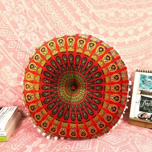 Casa Moro Sitzkissen »Orientalisches Yogakissen Mandala Saira Ø55cm aus reiner Baumwolle Inklusive Füllung, Hochwertiges Bodenkissen Vintage Zierkissen, Boho Stil«, Handmade, Kunsthandwerk
