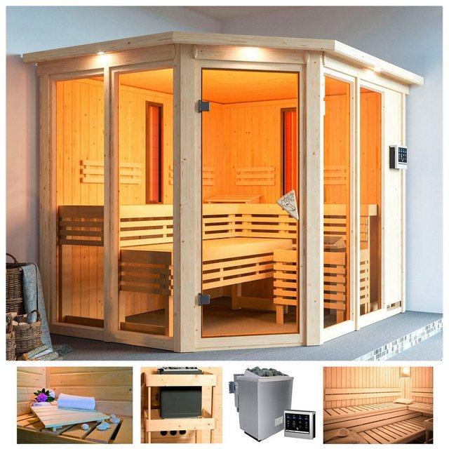 Saunen und Zubehör - KARIBU Sauna »Adria«, Infrarot, 245x210x202 cm, 9 kW Bio Ofen ext. Strg, Dachkranz  - Onlineshop OTTO