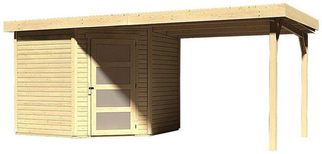 KARIBU Set: Gartenhaus »Schwandorf 5«, BxT: 530x262 cm, inkl. Anbaudach | Garten > Gartenhäuser | Karibu