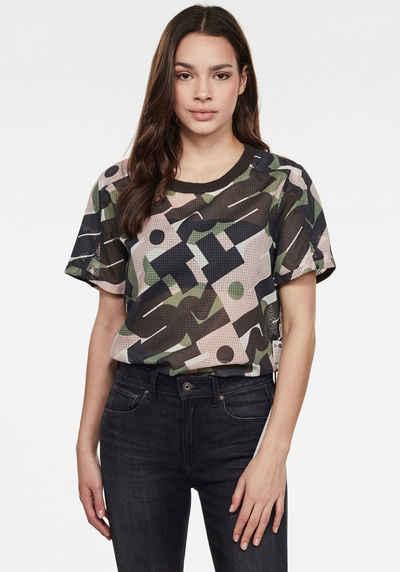 G-Star RAW T-Shirt »Woven Tee Top« mit gerippten Rundhalsausschnitt und Grafikprint vorne