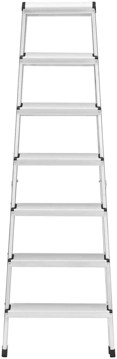 Hailo Doppelleiter »D60 StandardLine« (1-St), Alu-Doppelstufenleiter 2x7 Stufen