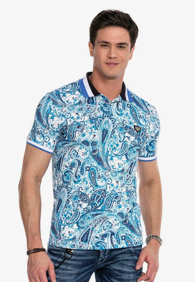 Cipo & Baxx Poloshirt mit modischem Paisley-Muster