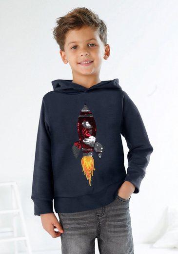 KIDSWORLD Kapuzensweatshirt mit Rakete aus Wendepailletten
