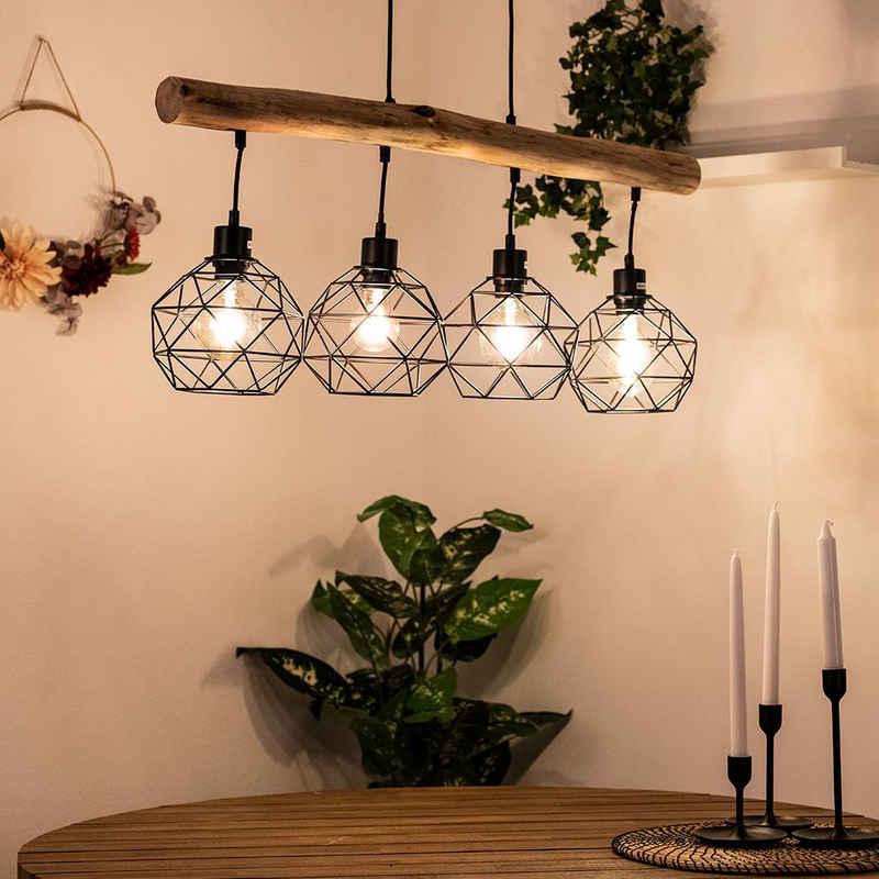 etc-shop Hängeleuchte, Vintage Pendel Decken Lampe Holz Balken Wohn Ess Schlaf Zimmer Gitter Hänge Leuchte schwarz