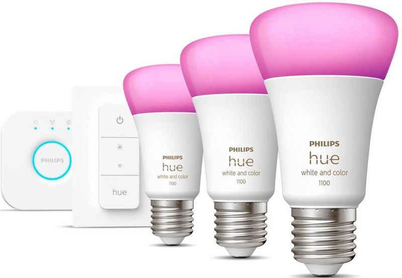 Philips Hue »Philips Hue White&Col. Amb. E27 3er StarterSet +DS 3x800lm 75W« LED-Leuchtmittel, E27, 5 Stück, Warmweiß