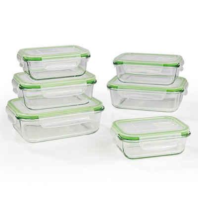 GOURMETmaxx Frischhaltedose, Glas, (6er Set, 12-tlg), Glas-Frischhaltedosen Klick-it