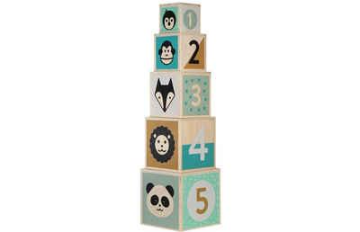 Kindsgut Stapelspielzeug »Holz-Stapelturm«, (5-tlg), Holzspielzeug Baby, Holz, Motorik, Lern-Spielzeug für Babys und Kleinkinder, Tiermotive, umweltfreundlich