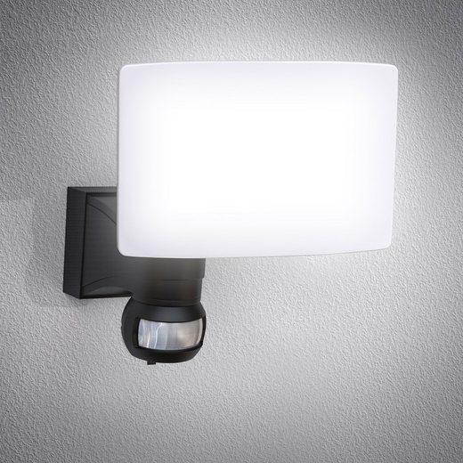 B.K.Licht LED Außen-Wandleuchte, LED Außenleuchte Bewegungsmelder schwenkbar 20W 2.300 Lumen 4.000K IP44 Spritzwasserschutz