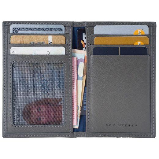 VON HEESEN Mini Geldbörse »Slim Wallet mit 8 Kartenfächern und Mini-Münzfach (grau)«