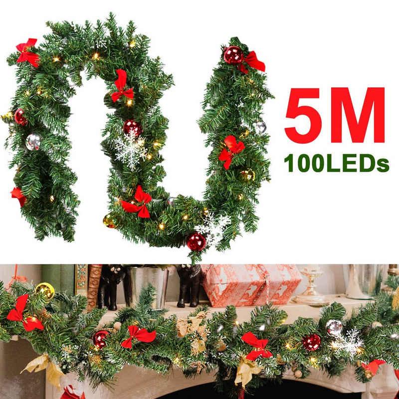 Kunstgirlande »Christbaumschmuck, Weihnachtsgirlande 5m,Tannengirlande mit 100 LED warmweiß inkl.Girlande Weihnachten, Deko Weihnachten Innen Außen Treppen Kamine Weihnachten,Festgirlanden«, Einfeben