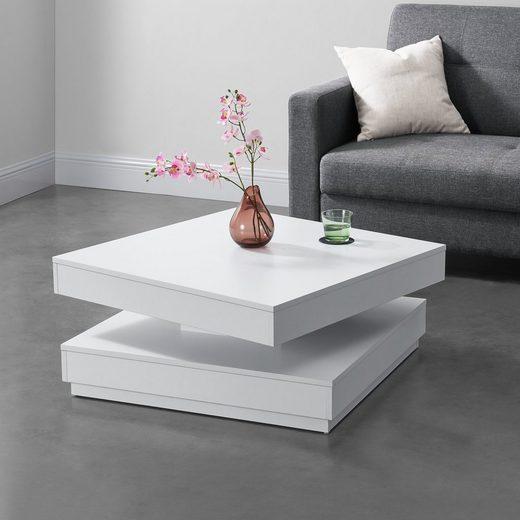 en.casa Couchtisch, »Florenz« Beistelltisch drehbar 76x76x38cm weiß