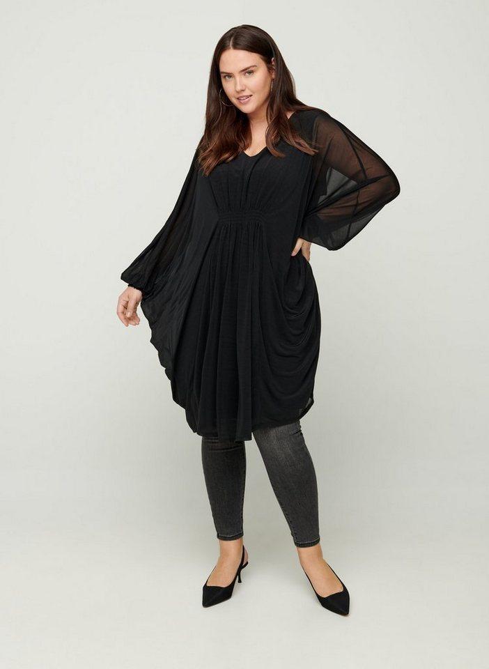 Festtagsmode - Zizzi Abendkleid Große Größen Damen Langarm Kleid mit V Ausschnitt und Gummiband ›  - Onlineshop OTTO