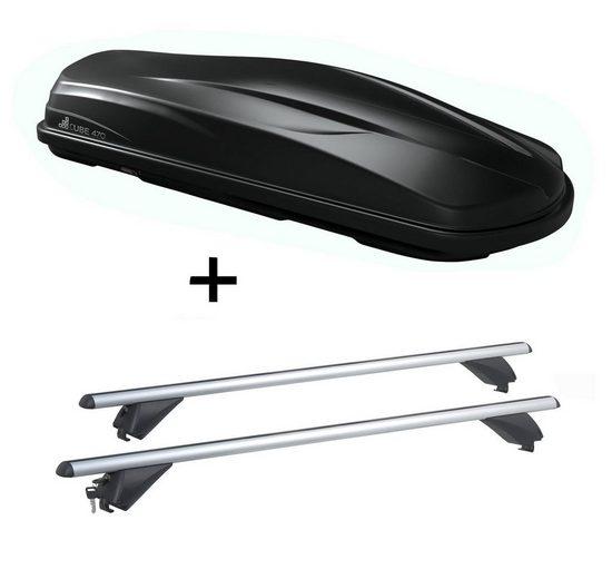 VDP Fahrradträger, Dachbox/Gepäckbox CUBE470 + Alu Dachträger RB003 kompatibel mit Audi A6 SW (C7) (5Türer) ab 2011