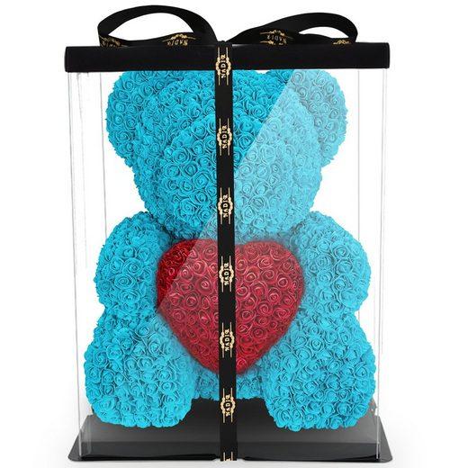 Kunstblume »Rosenbär mit Geschenkbox versch. Farben mit Herz - Geschenk für Freundin Jahrestag Geburtstag Hochzeit 70 cm« Künstliche Pflanze, NADIR, ca. 850 Kunstblüten