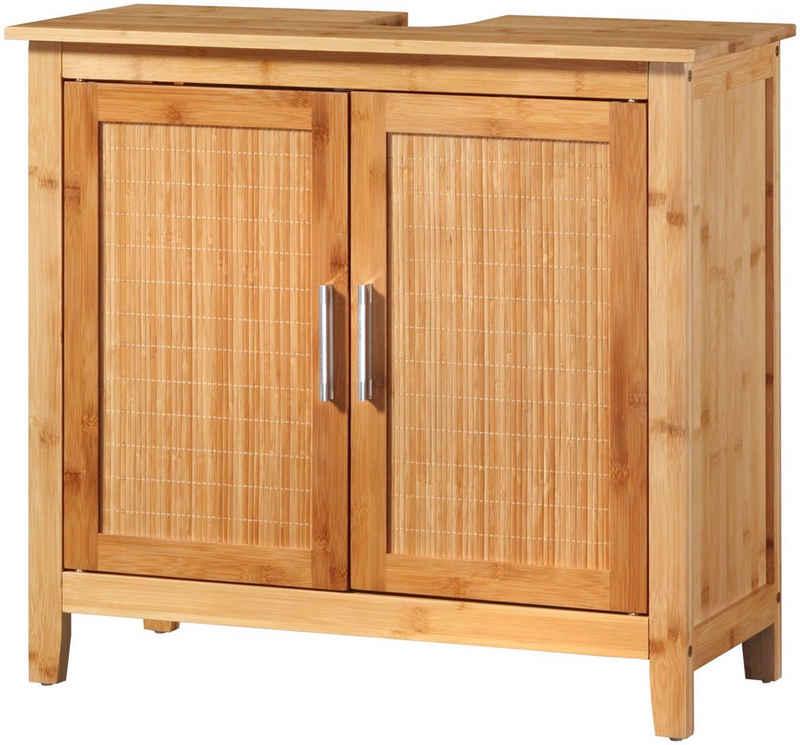 welltime Waschbeckenunterschrank »Bambus« Badschmöbel mt Siphonausschnitt, Breite 67 cm