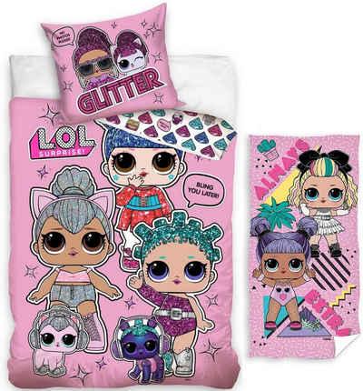 Kinderbettwäsche »LOL Surprise - Glitter-Bettwäsche-Set, 135x200 cm und Strandtuch, 70x140 cm«, LOL Surprise, 100% Baumwolle