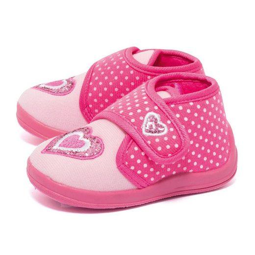 dynamic24 Hausschuh Kinder rosa Klettverschluß Puschen Slipper Schuhe