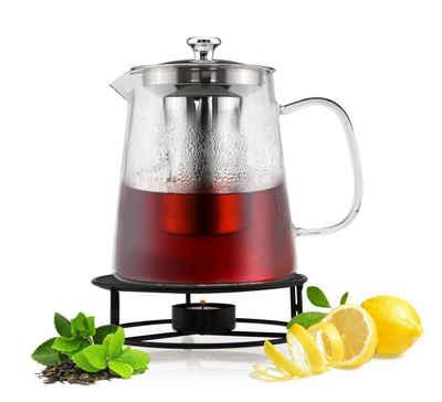 Sendez Teekanne »1,2L mit Edelstahl Sieb und Stövchen Teebereiter Glaskanne Teeset Kanne«