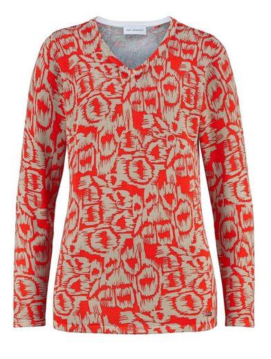 Amy Vermont V-Ausschnitt-Pullover im allover-Druck