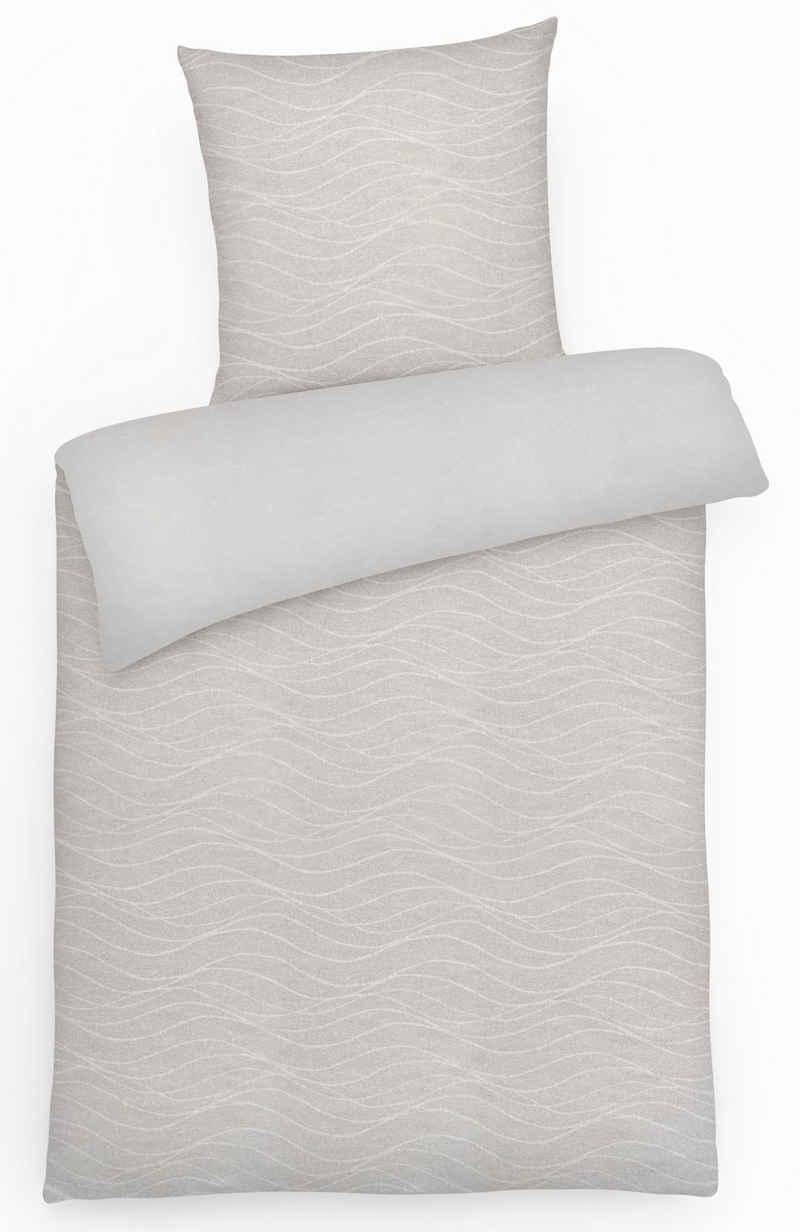 Bettwäsche »Warme Winter Flanell Wende-Bettwäsche Wellen Uni aus 100% Baumwolle«, Carpe Sonno, Warme Winterbettwäsche 135x200 cm, angenehm leicht auf der Haut, flauschige Bettgarnitur, hochwertige Biberbettwäsche mit Wohlfühlcharakter, atmungsaktiver & wärmender Flanell-Bettbezug, pflegeleicht & trocknergeeignet