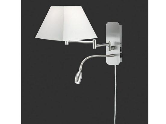 meineWunschleuchte LED Wandleuchte, innen, Lese-Lampe Bett, Lampen-Schirm Stoff Weiß, Schwenkarm, Designer Lampe, Wand-Montage, mit Schalter (2x), Stecker