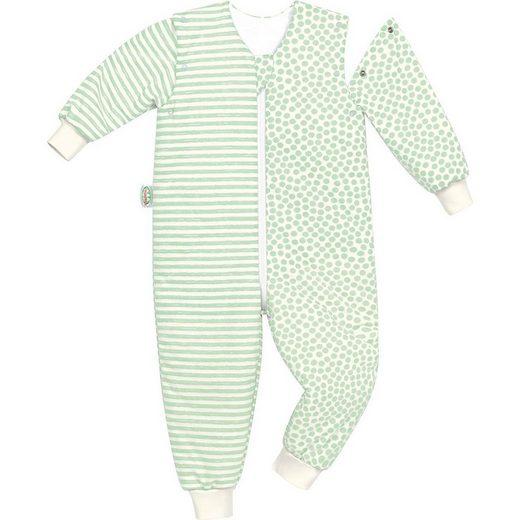 Odenwälder Babyschlafsack »Jersey-Schlafoverall Hopsi, stripes grey,«