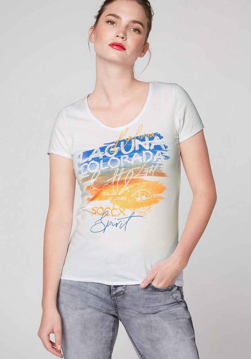 SOCCX V-Shirt mit Glitzer-Print