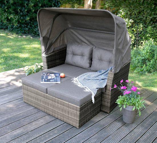 bellavista - Home&Garden® Loungeset »Multifunktions-Lounge Long Island von bellavista«, (7-tlg), 2-sitzer Sofa ca. 145x80x80,5cm (BxTxH) und 145x80x152cm (BxTxH) mit aufgeklapptem Dach, Fußbank ca. 116x58x43cm (BxTxH)