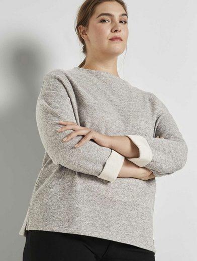 TOM TAILOR MY TRUE ME Fleecepullover »Meliertes Sweatshirt mit Stehkragen«
