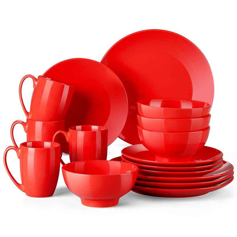 LOVECASA Kombiservice »Sweet« (16-tlg), Porzellan, 16-tlg kombiservice mit Speiseteller, Kuchenteller, Müslischalen und Kaffeebecher