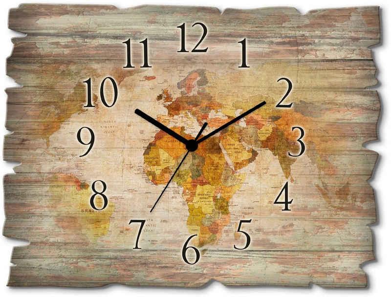 Artland Wanduhr »Weltkarte« (lautlos, ohne Tickgeräusche, nicht tickend, geräuschlos - wählbar: Funkuhr o. Quarzuhr, moderne Uhr für Wohnzimmer, Küche etc. - Stil: modern)