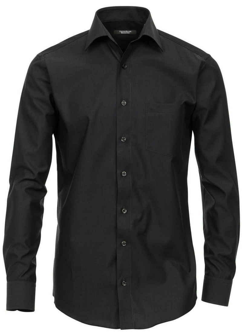 Cotton Island Langarmhemd »Herren Langarm Hemd Businesshemd« comfort fit Kentkragen uni, schwarz HL24