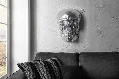 riess-ambiente Wanddekoobjekt »SKULL XXL 42cm silber« (1 Stück), Metall · Totenkopf · Deko-Schädel · Schlafzimmer · Wohnzimmer