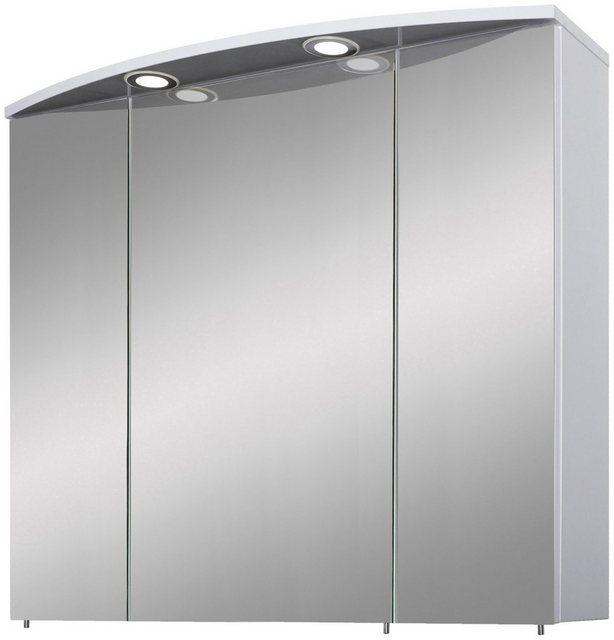 Spiegel - Schildmeyer Spiegelschrank »Verona« Breite 80 cm, 3 türig, 2 LED Einbaustrahler, Schalter Steckdosenbox, Glaseinlegeböden, Made in Germany  - Onlineshop OTTO