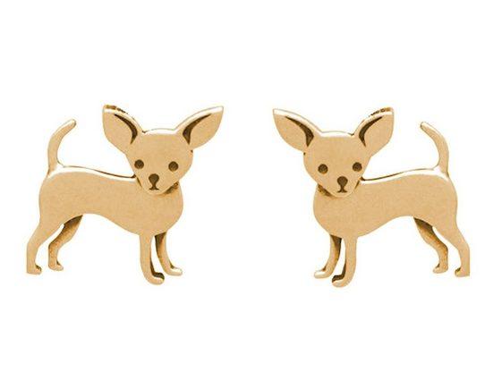 Gemshine Paar Ohrstecker »CHIHUAHUA HUND«, Schmuck für Tierfans Made in Spain
