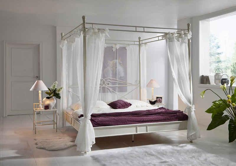 Junado® Himmelbett »Venezia«, Doppelbett Himmelbett 140cm creme