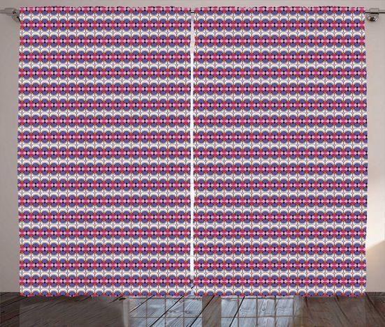 Gardine »Schlafzimmer Kräuselband Vorhang mit Schlaufen und Haken«, Abakuhaus, Abstrakt 70er Jahre inspirierten Kreis Kunst