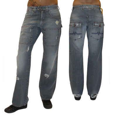 MET Jeans Boyfriend-Jeans »Electrician« Damen Jeanshose Baggy Hip Hop Hose gerades Bein used Look