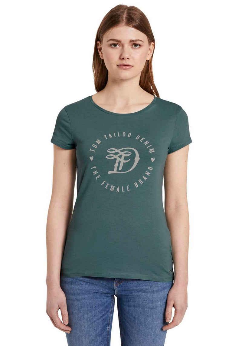 TOM TAILOR Denim Kurzarmshirt mit großem, runden Logo-Print in Kontrastfarbe