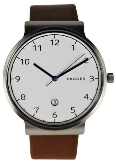Skagen Quarzuhr »SKAGEN Herren Armbanduhr Uhr SKW6433 Ancher Edelstahl silber weiß Leder braun«