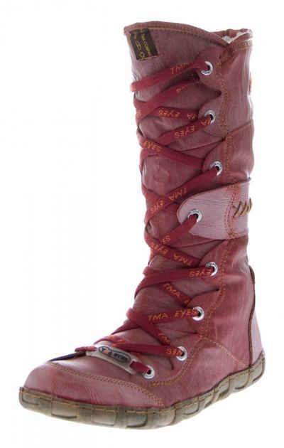 TMA »Leder Stiefel TMA 2088 Winter Schuhe gefüttert« Stiefel Gefüttert, Reptil-Print, Used Look
