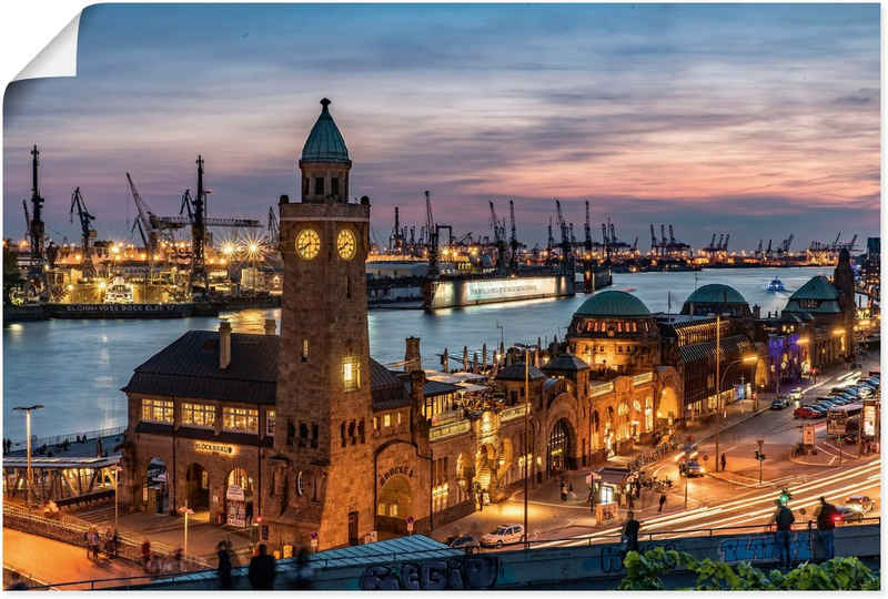Artland Wandbild »Landungsbrücken Hamburg«, Hamburg (1 Stück), in vielen Größen & Produktarten - Alubild / Outdoorbild für den Außenbereich, Leinwandbild, Poster, Wandaufkleber / Wandtattoo auch für Badezimmer geeignet