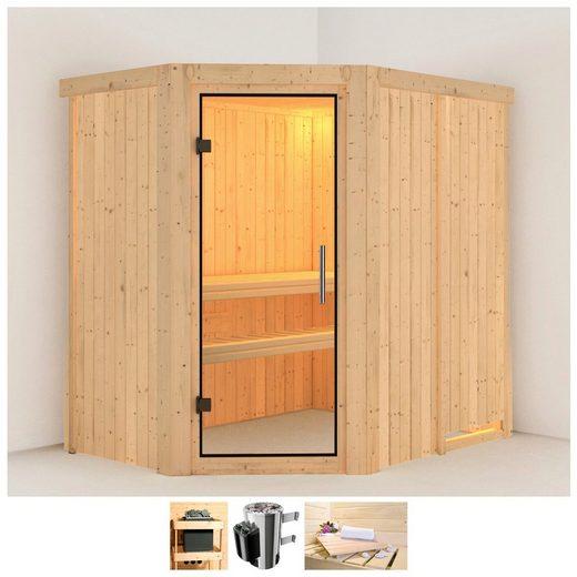 KARIBU Sauna »Saja«, 196x151x198 cm, 3,6 kW Plug & Play Ofen mit int. Steuerung