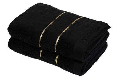 Aymando Handtuch Set »Dubai Kollektion« (Spar Set, 2-tlg), Duschtuch Badetuch luxuriöse Verarbeitung Qualität aus 100% bester ägyptischer premium Baumwolle (GIZA 86) 70x140cm 600 g/m², Black-Gold