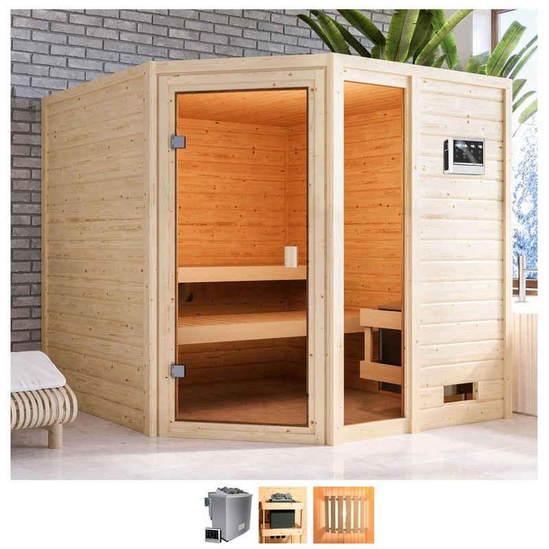 Karibu Sauna »Tally«, BxTxH: 196 x 196 x 187 cm, 38 mm, 9-kW-Bio-Ofen mit ext. Steuerung