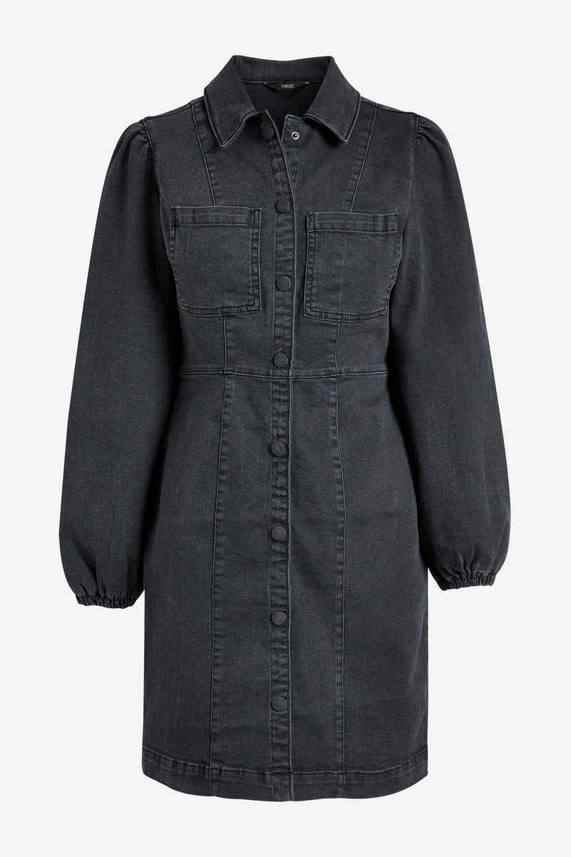 Next Jeanskleid »Langärmeliges, figurbetontes Jeanskleid« (1-tlg)