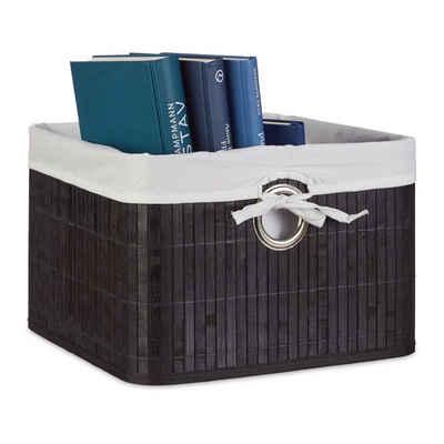 relaxdays Regalkorb »1 x Aufbewahrungskorb Bambus schwarz«