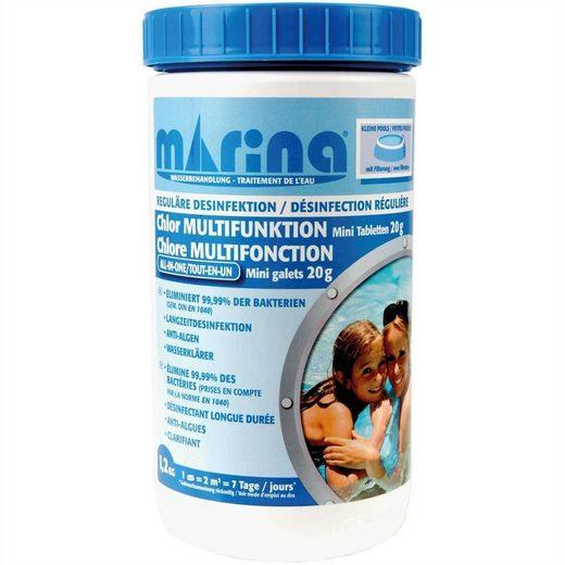 Marina Pool, Chlortabletten für kleine Pools / Planschbecken ab 2m³, 60 x Chlor Multitabs à 20g (1,2kg), lang anhaltend, Anti-Algen, klärt das Wasser